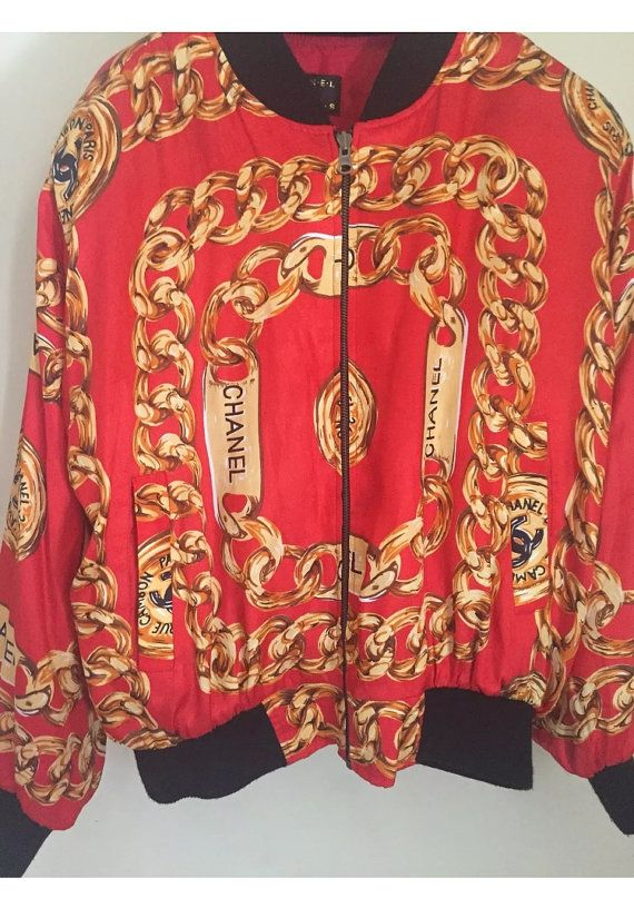67f577cc56 Chanel Vintage Silk Red Bomber Jacket 80s by VintageUnicorns87