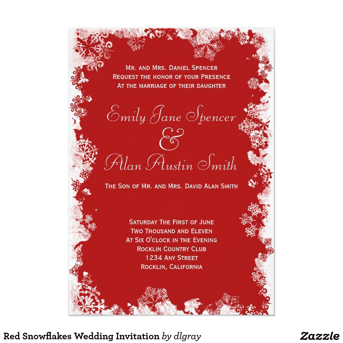 Red Snowflakes Wedding Invitation 5\