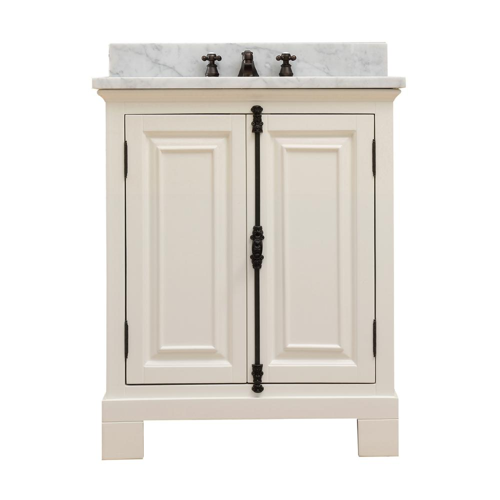 Water Creation Greenwich 30 In W X 22 In D Vanity In Antique White With Marble Vanity Top In White With White Basin And Faucet Green30awf The Home Depot Marble Vanity