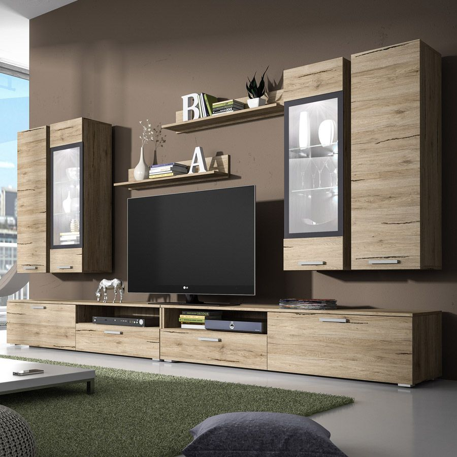 ensemble meuble tv couleur ch ne clair et gris. Black Bedroom Furniture Sets. Home Design Ideas
