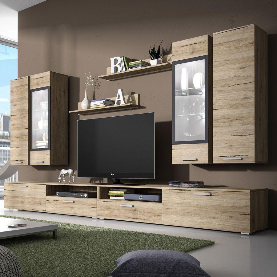 Ensemble meuble TV couleur chêne clair et gris contemporain RITA 2 ...
