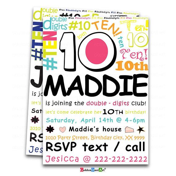 Double Digits Birthday Party Invitation 10th Invite Happy Doodle Invitatio