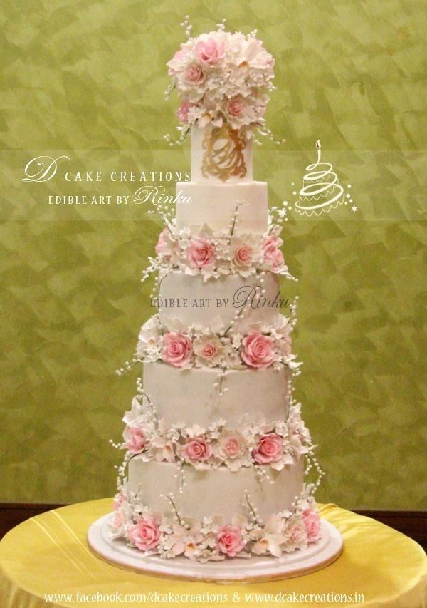 5 Tier Floral Wedding Cake For more pictures: http://on.fb.me ...