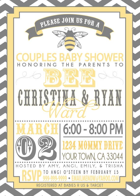 Couples Baby Shower Invitation Parents To Bee Products In 2019