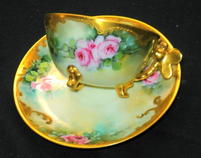 LIMOGES PAIRPOINT ROSE FLOWER GOLD DRAGON FLY HANDLE DEMI CUP AND SAUCER #LIMOGESHAVILANDFRANCE