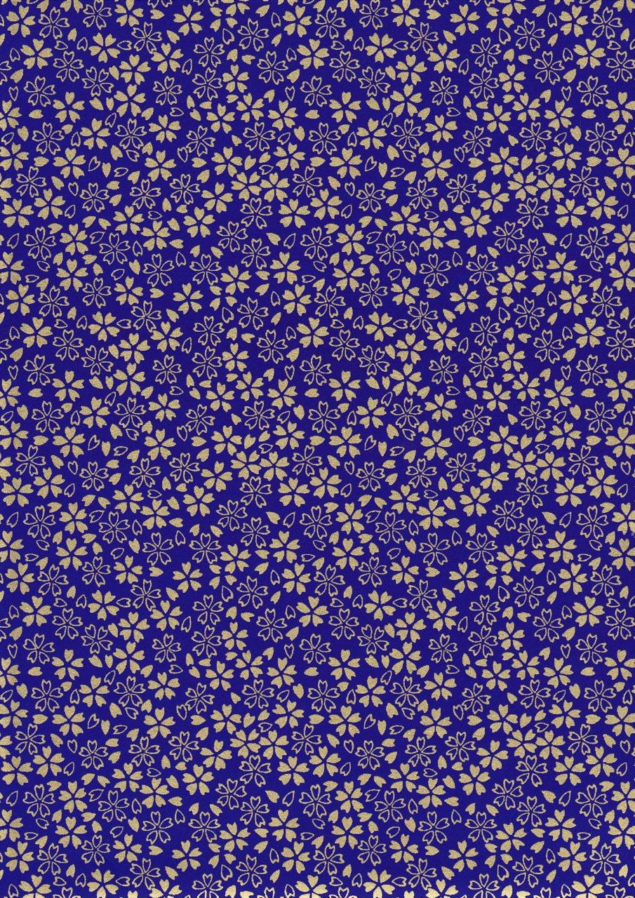 gold flowers on navy blue japanese yuzen chiyogami washi