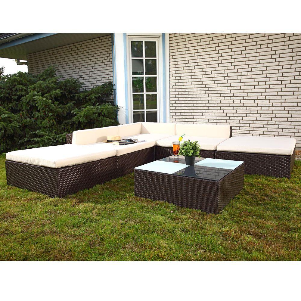 16 Tlg PolyRattan Sitzgruppe Lounge Sessel Sofa Sitzgarnitur Gartenmöbel  Braun