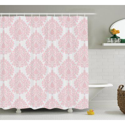 East Urban Home Baby Pink Floral Shower Curtain Size: 69\