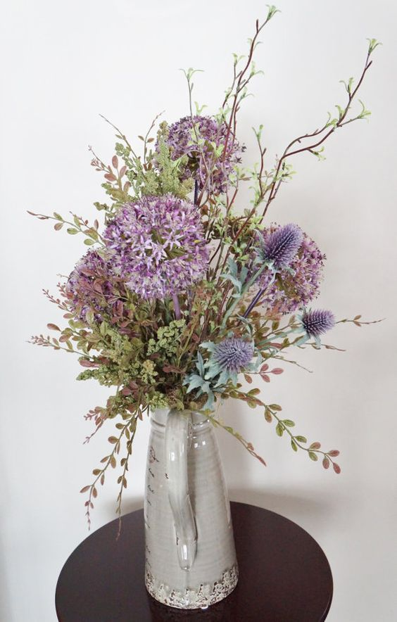 Flower Arrangement Home Decor Allium Rustic Purple Silk Fl