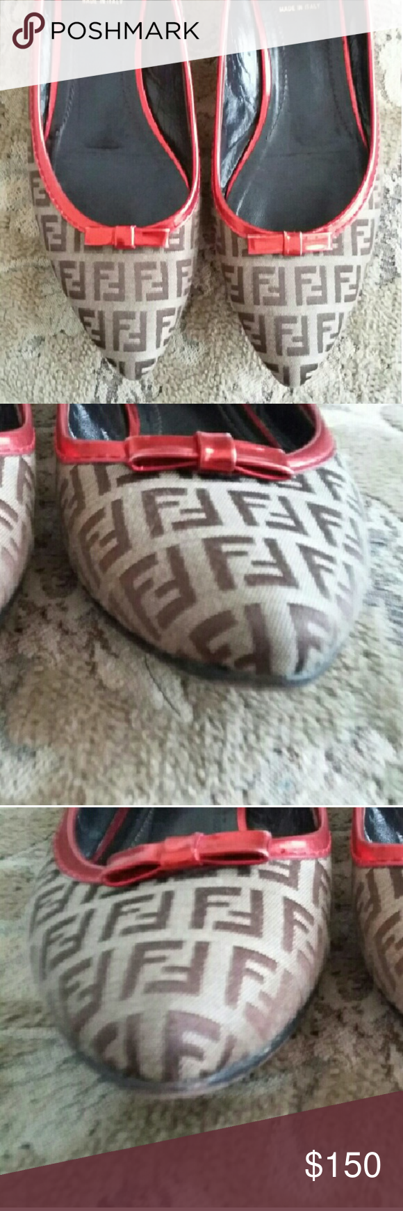 39.5 Fendi Logo Flats w/ Red Patent Trim and Bow Very Good codition. Only visible wear on soles. Selling because they fit more like a 9 than 9.5 Fendi Shoes Flats & Loafers