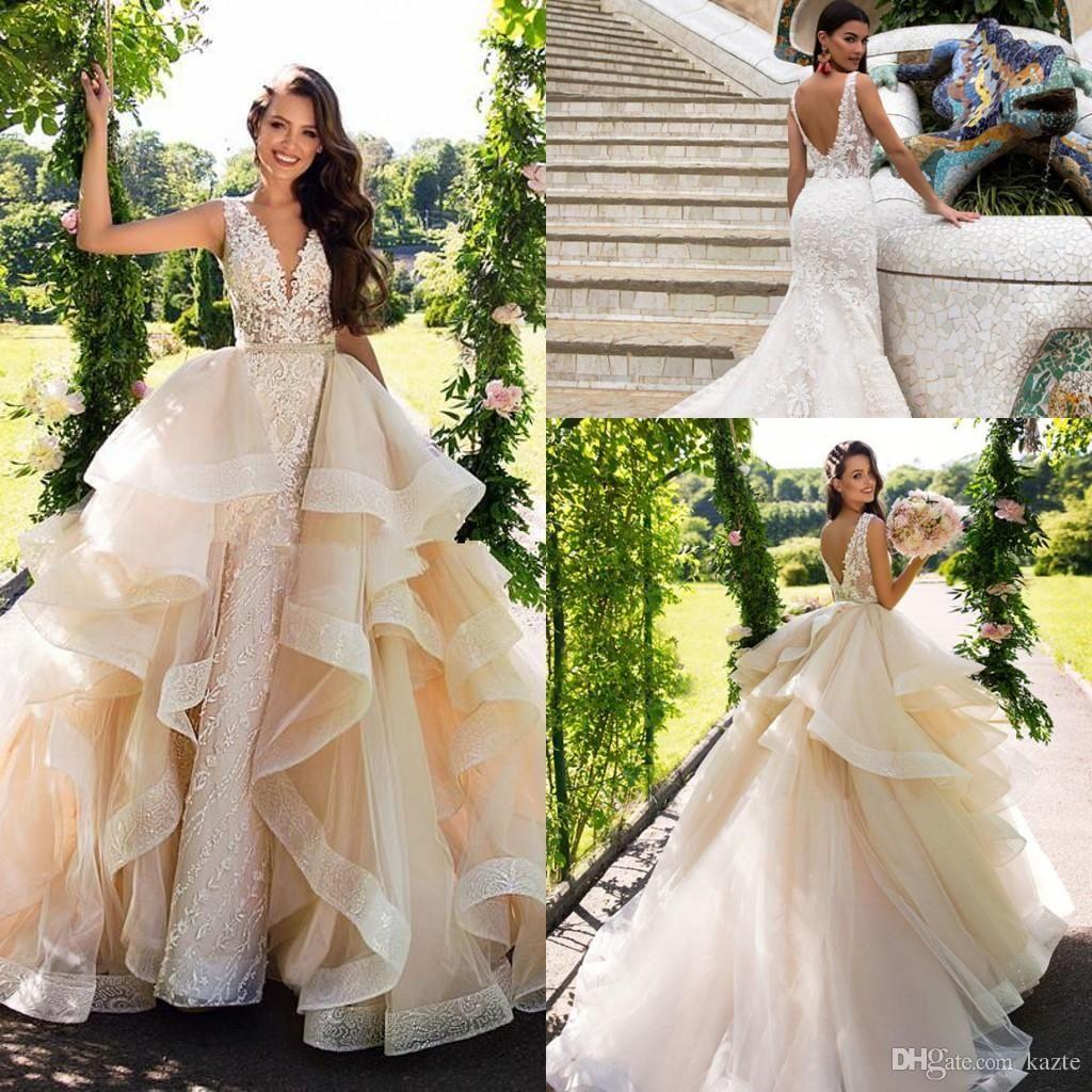 Milla nova detachable train mermaid wedding dresses modest lace