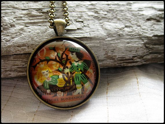 Postage Stamp Pendant  Sleeping Beauty by OhThePost on Etsy, $23.00