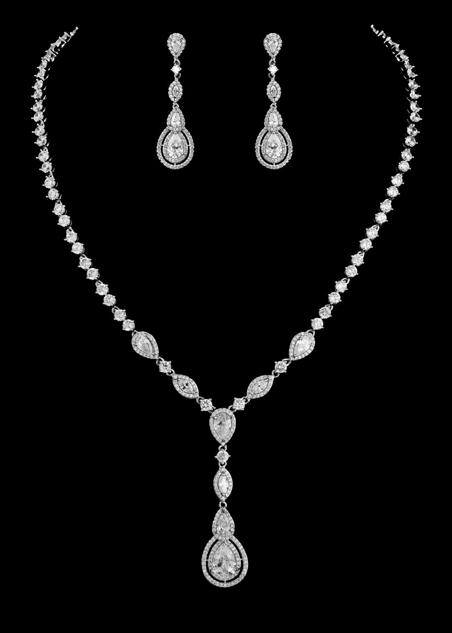 Vintage Look CZ Crystal Drop Bridal Jewelry Set Silver or Rose