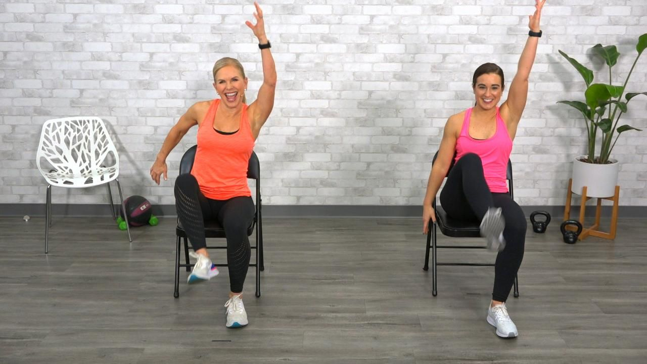 Chair Program Chair Cardio Get Healthy U Tv In 2020 Circuit Workout Cardio Chair Exercises