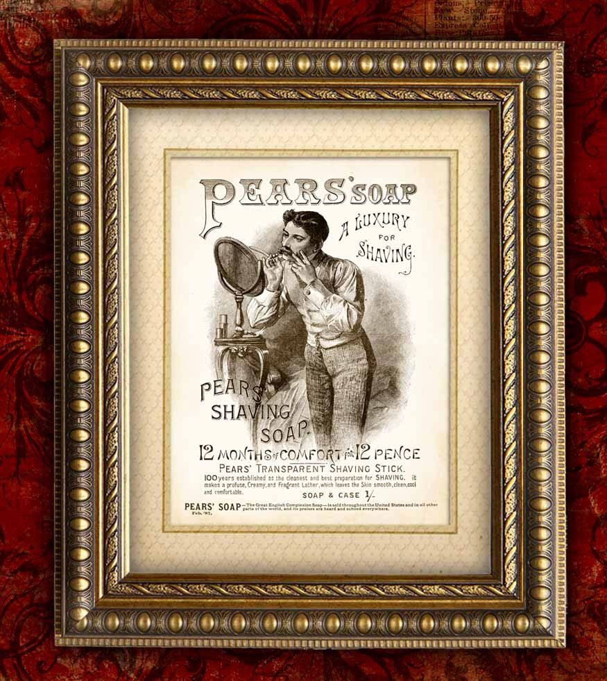 Wall art. Reproduction poster old Magazine shave advert Luxury with economy