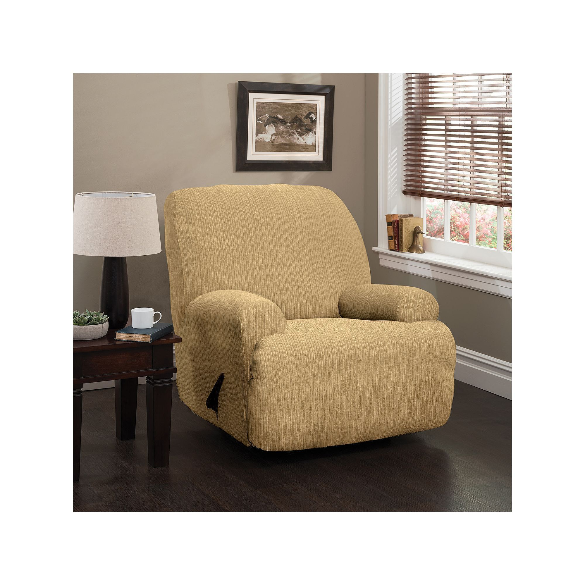 Heather Stripe Stretch Jumbo Recliner Slipcover Green