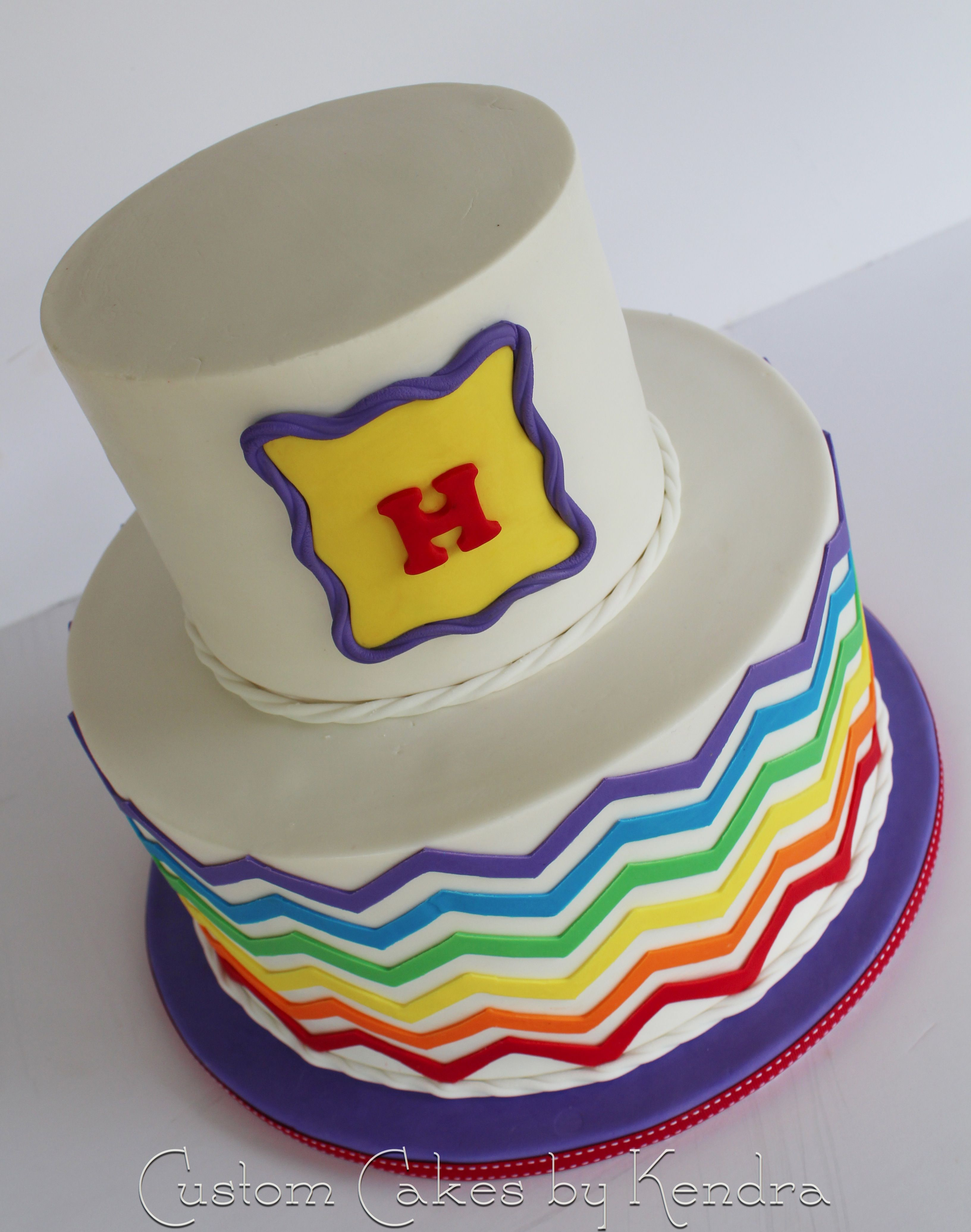 - Rainbow chevron on the outside with six layers of rainbow cake per tier inside