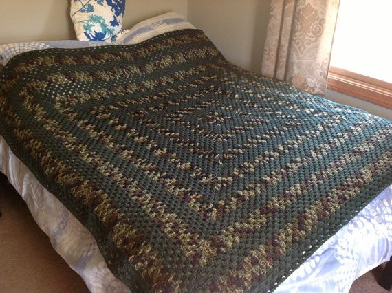 Camouflage Crocheted Granny Square Afghan Blanket Throw On