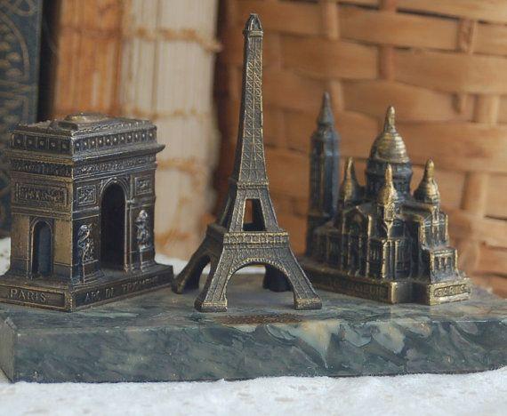 Vintage Paris Souvenir Eiffel Tower and Landmarks by PatinaVille, $48.00