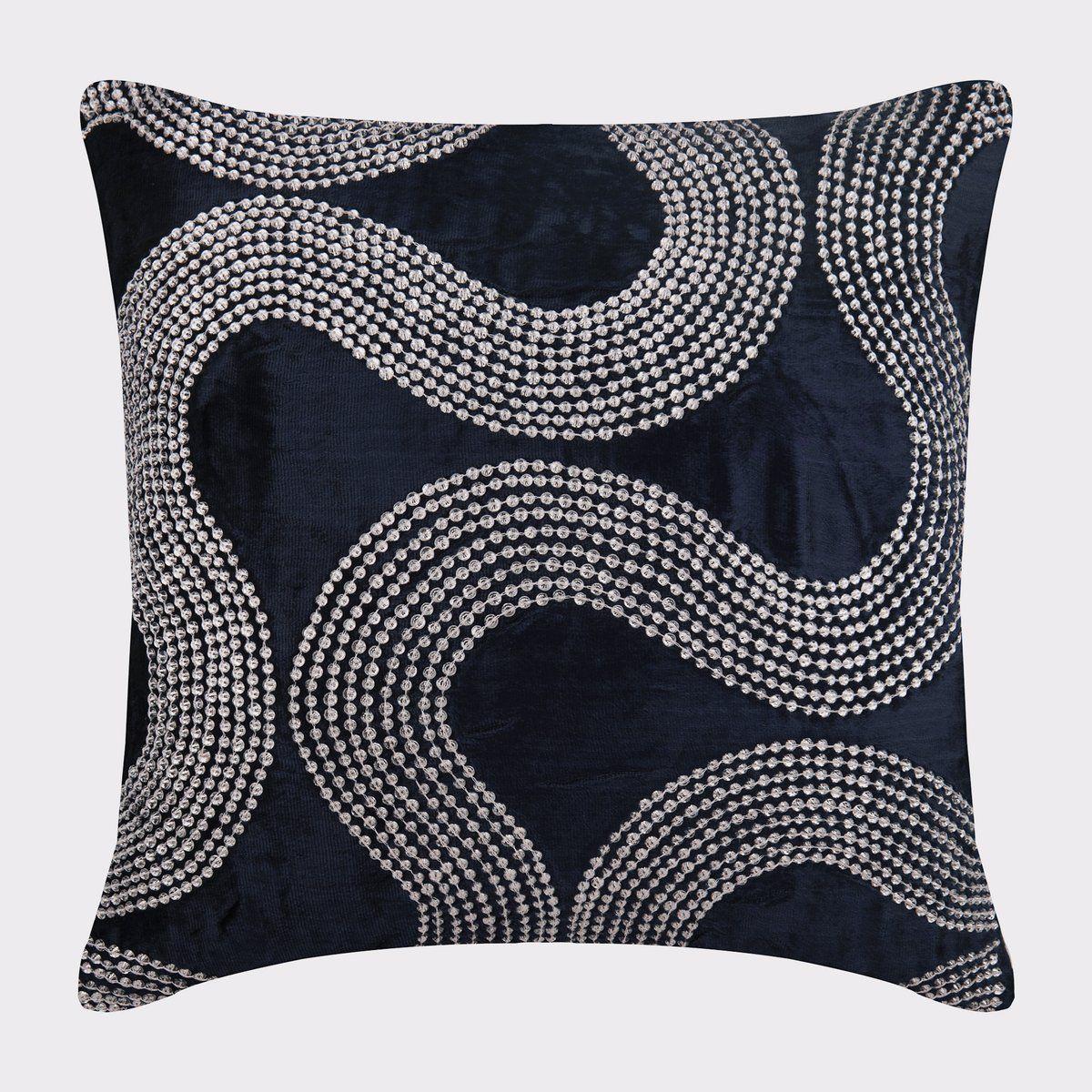 16x16 Designer Navy Blue Throw Pillow