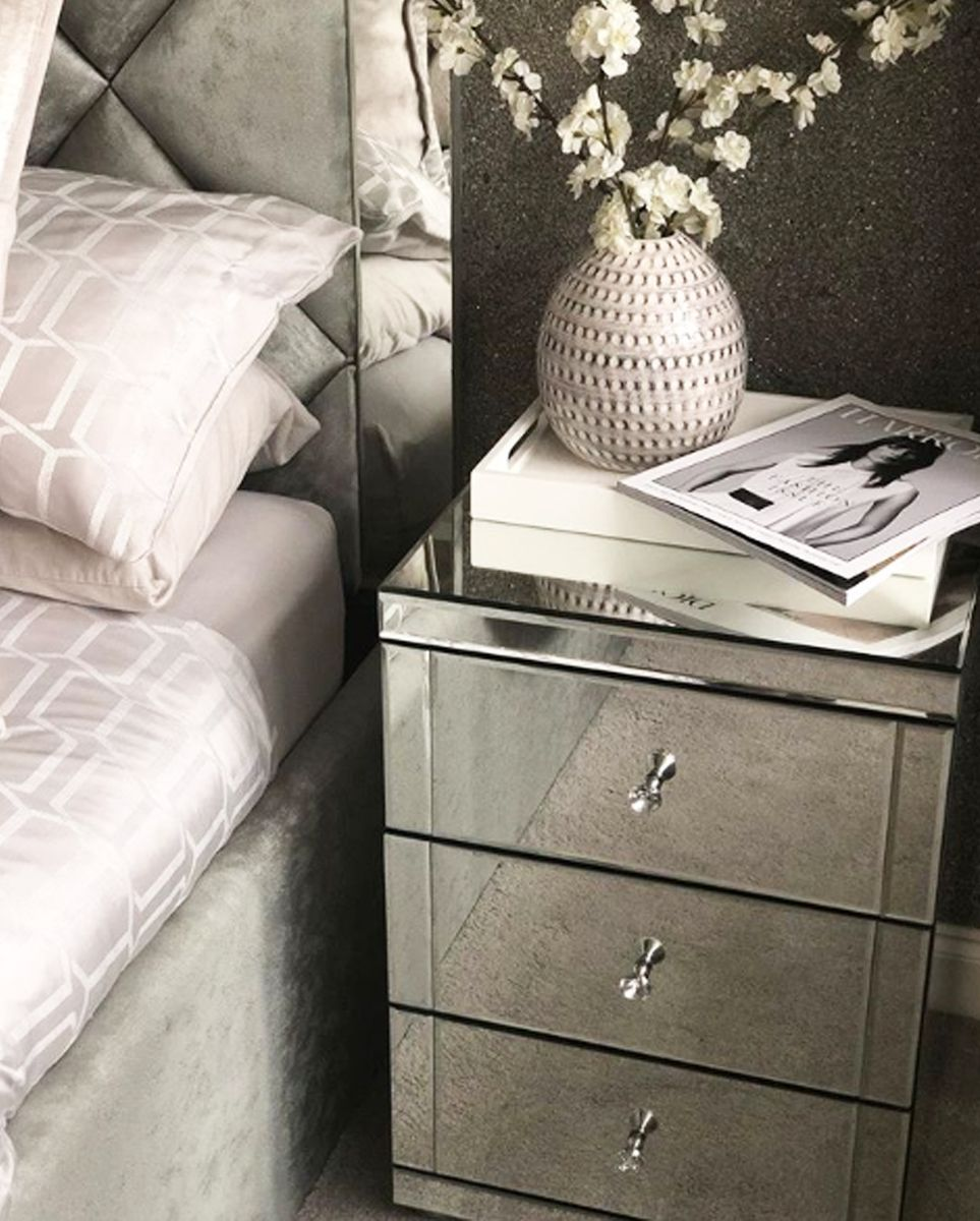 Monroe 3 Drawer Mirrored Bedside Table In 2019 Mirror