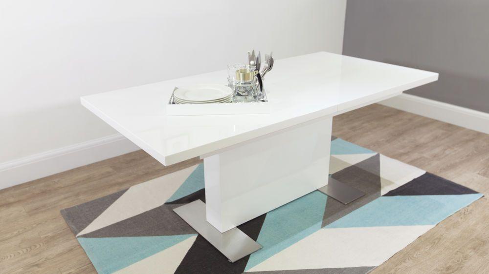 Modern White Gloss Extending Dining Table Uk