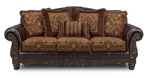 347 Francesca Sofa Leather Arms Tapestry Fabric