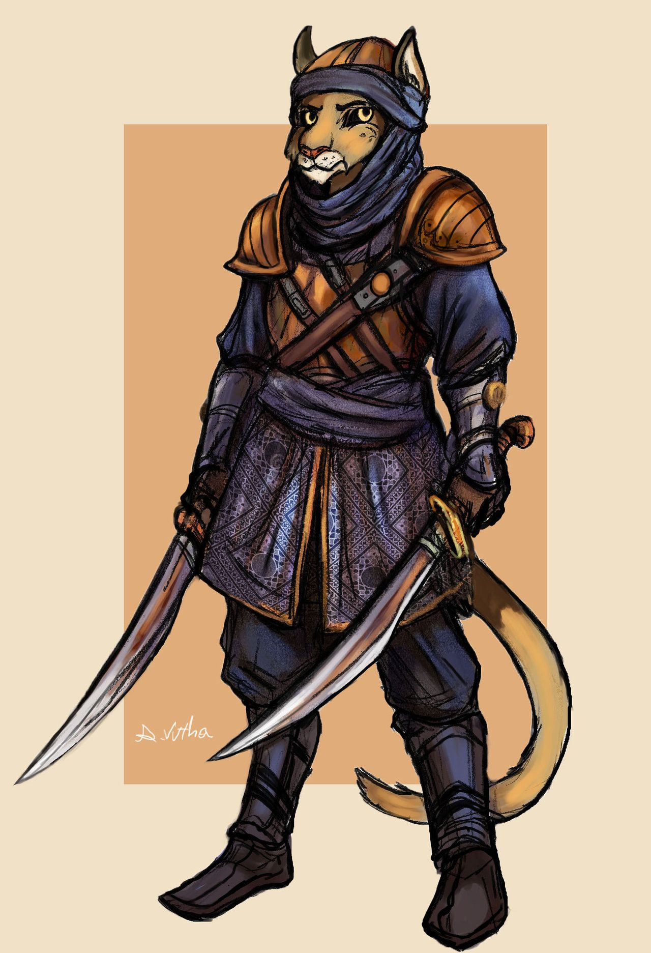 Character Design Arabian Cat Warrior by TheLivingShadow