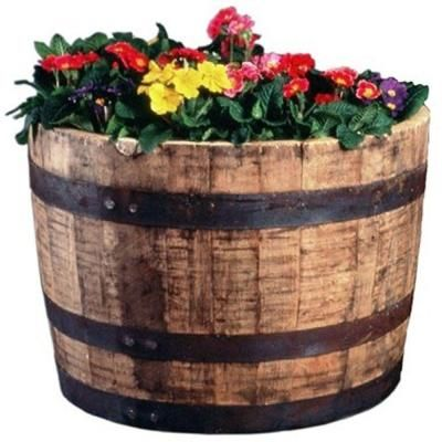 Null 25 In Dia Oak Wood Whiskey Barrel Planter Outdoor Play