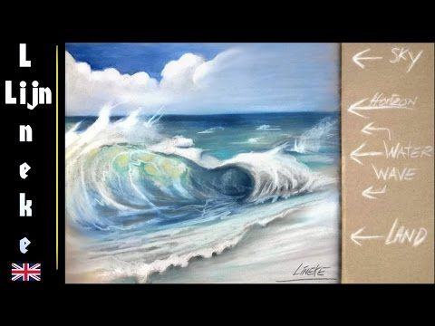 How To Draw The Sea And Sky In Pastel Pencil For Beginners Youtube Waterfall Drawing Drawings Turtle Watercolor