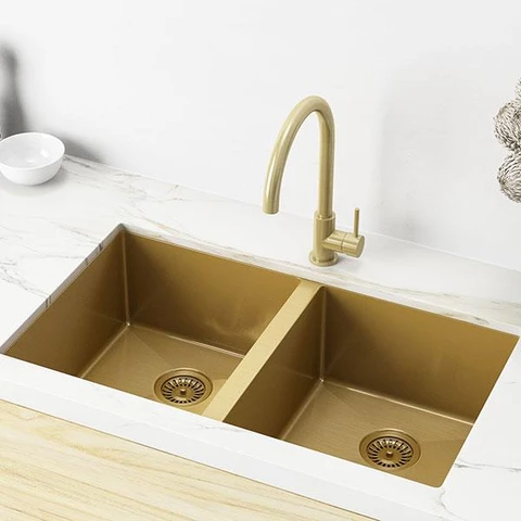 Meir Double Bowl Pvd Kitchen Sink 860mm Brushed Bronze Gold