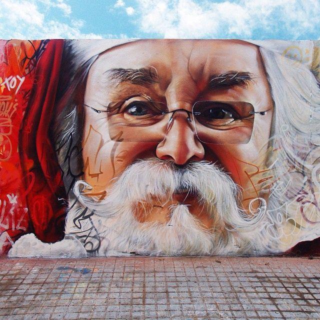 "Street art | Mural ""Joyeux Noël"" (Spain) by Pichi and Avo"