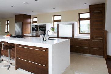 Best Walnut And White Modern Kitchen Other Metro Darren 400 x 300