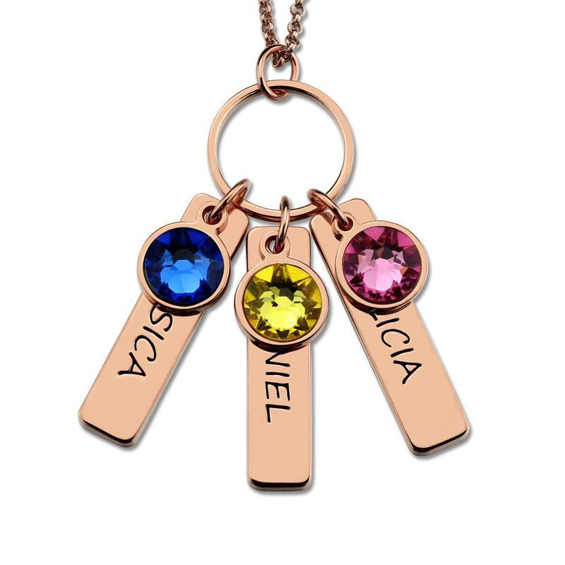 e832f98d7e Three Engraved Birthstone Nameplate Necklace   Personalized Jewelry ...