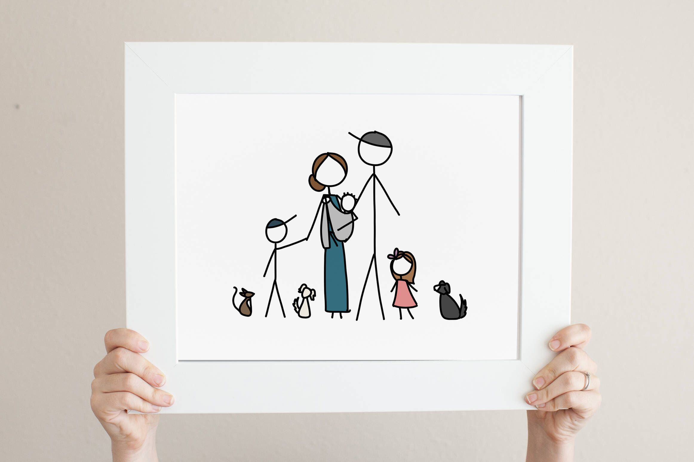 Custom Simple Stick Figure Family Portrait Family Drawing Family