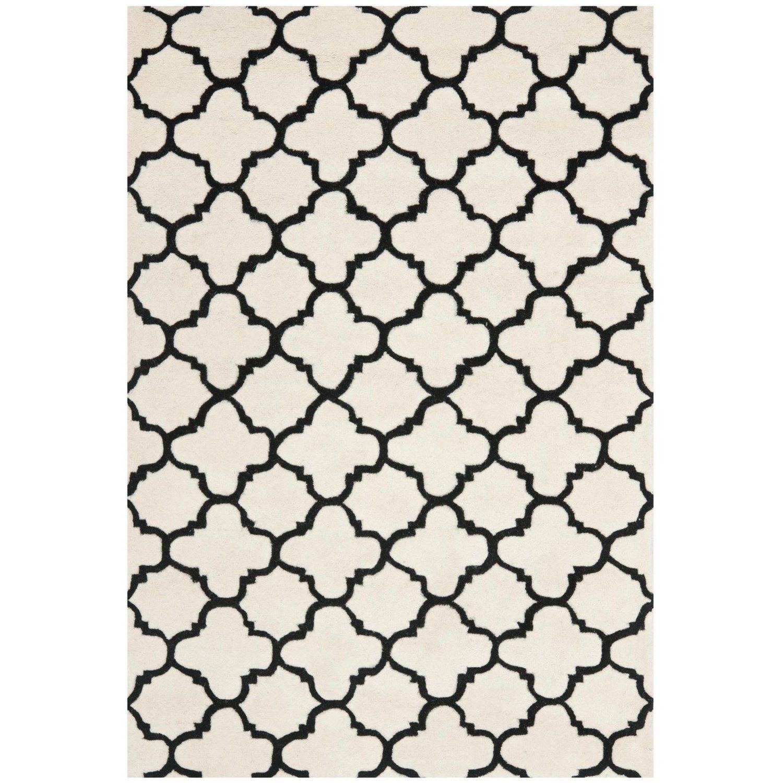 Safavieh CHT717A Chatham Wool Hand Tufted Ivory/Black Rug