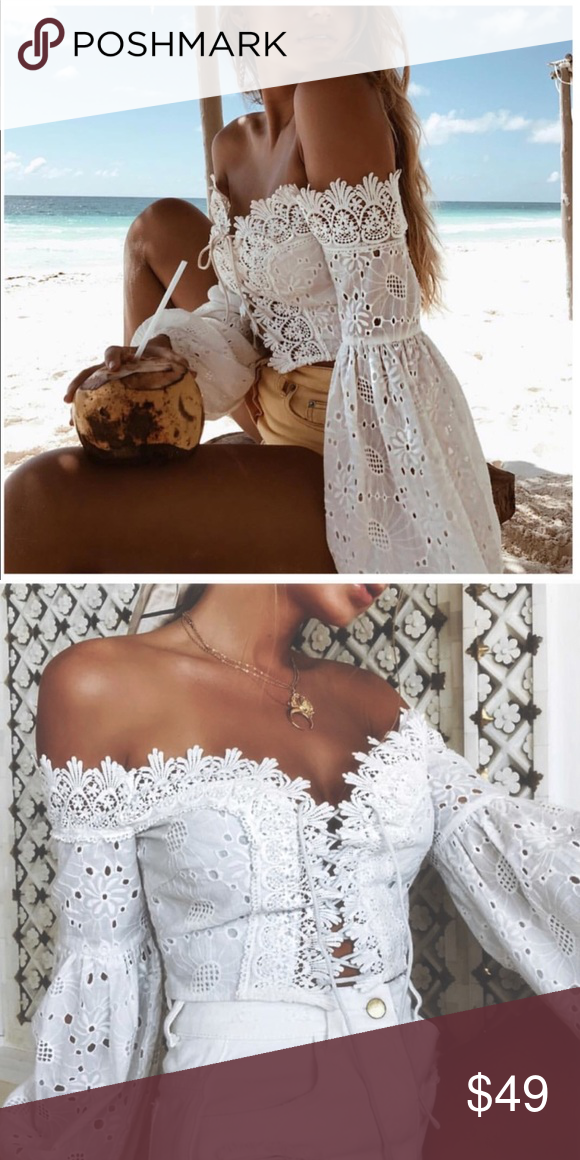 bb8025e153dd4 💕LOVE off shoulder lace flower crop top cover up Beach blouse cover up fun Adorable  off shoulder crop top 壟✨⭐  Select small for XS Select medium for ...