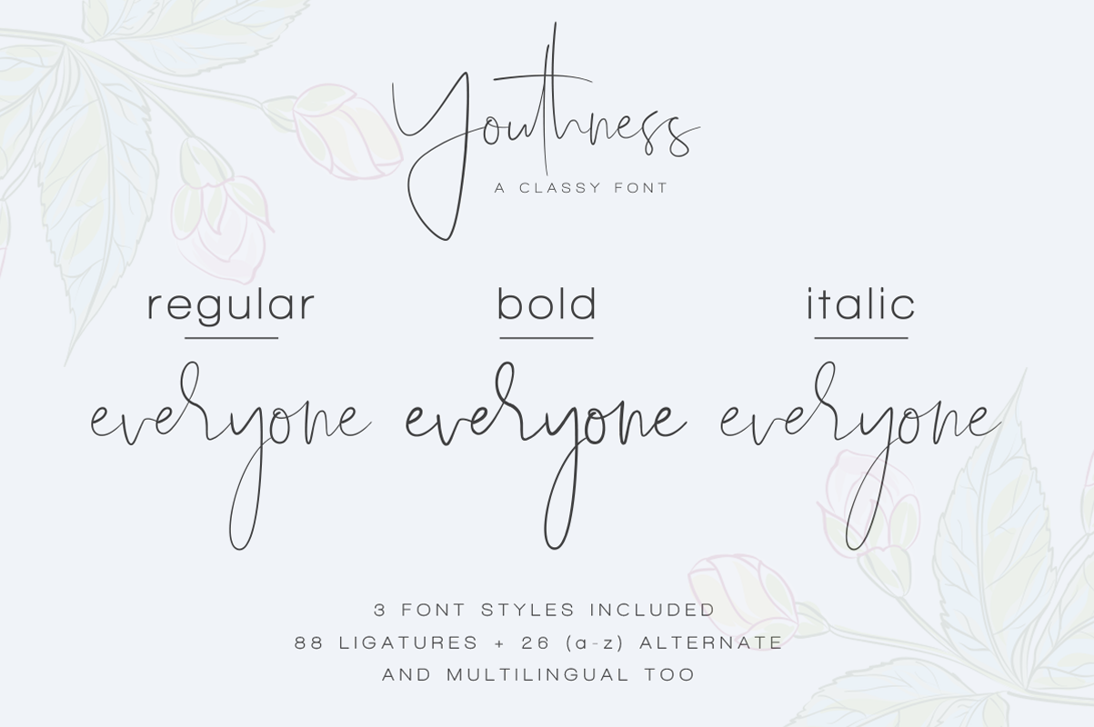 Youthness Family Modern Script Best free fonts