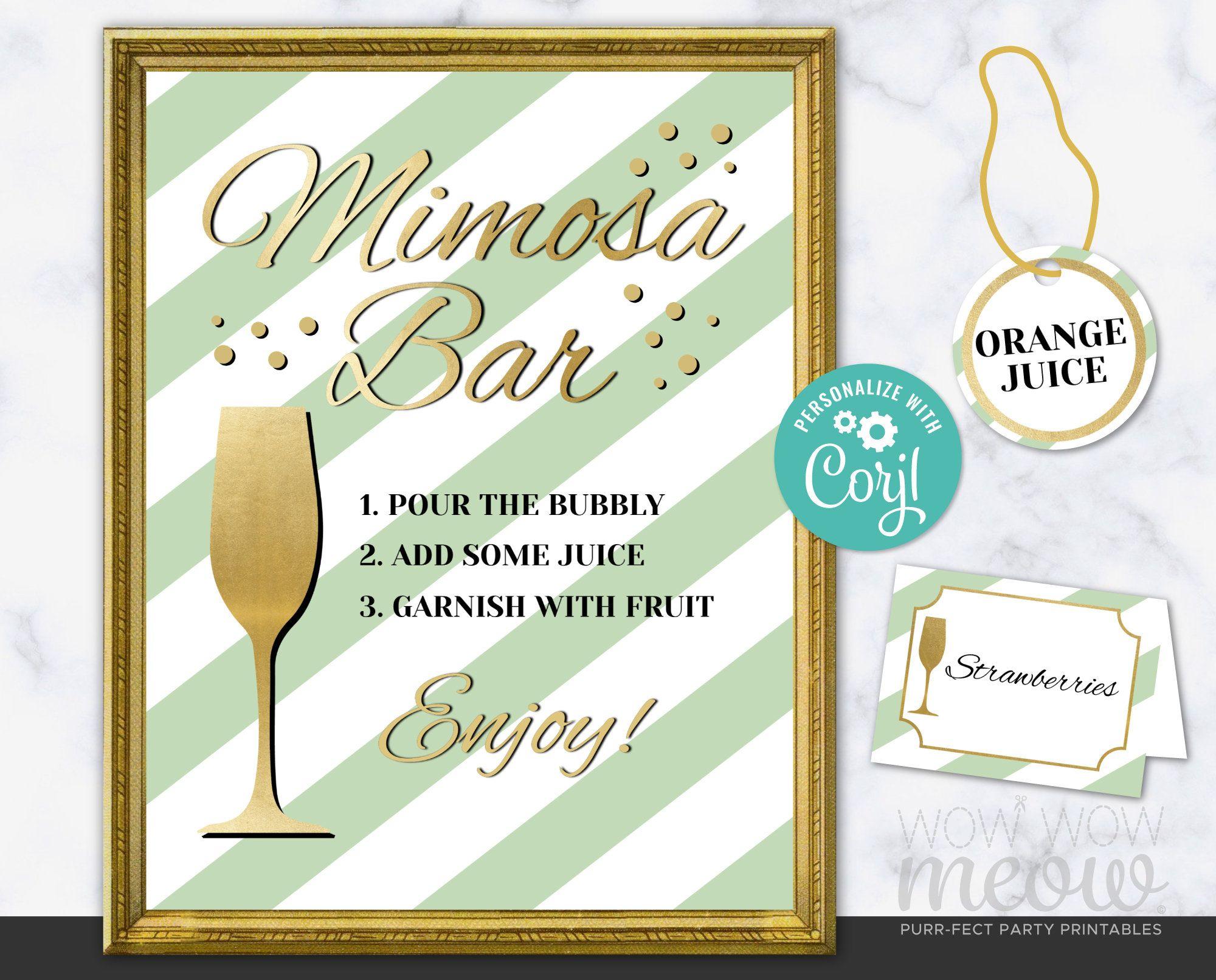MIMOSA BAR Sign Tags & Tents Signs Printables Mint Green ...