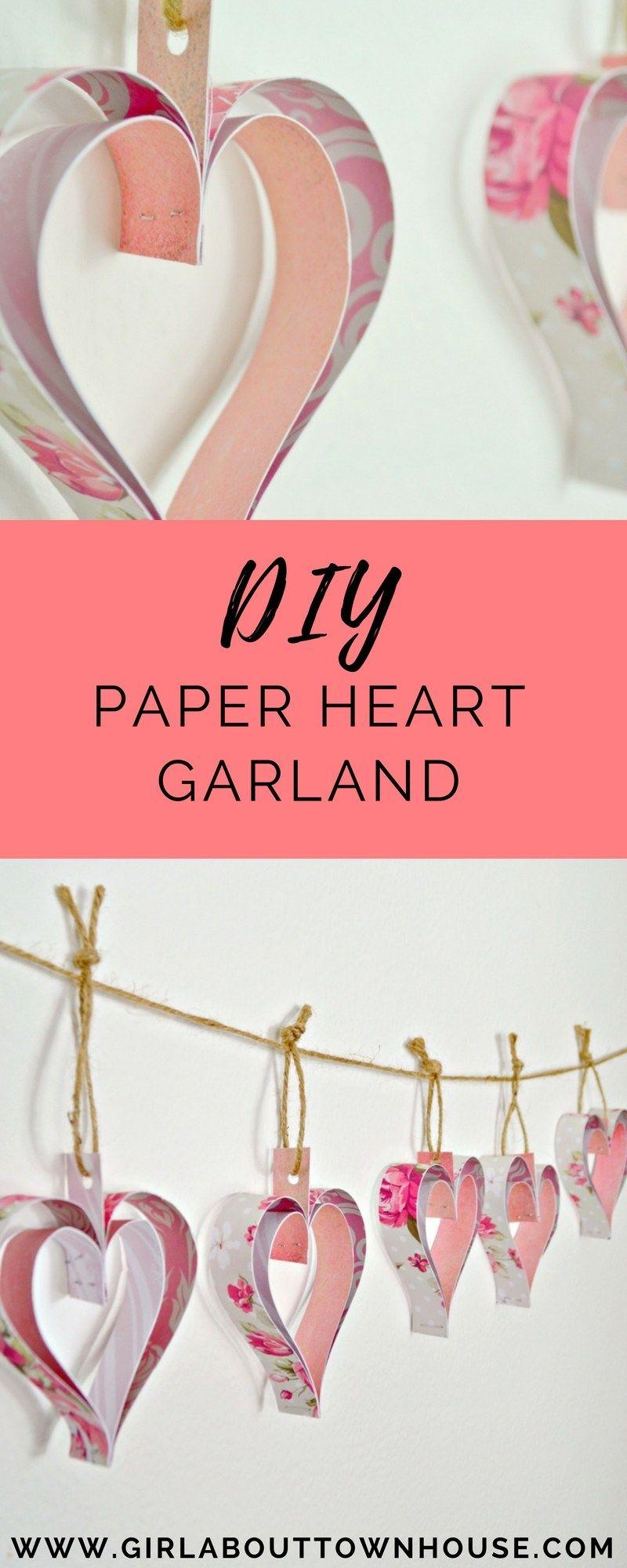 Paper heart decorations garland tutorial Paper heart