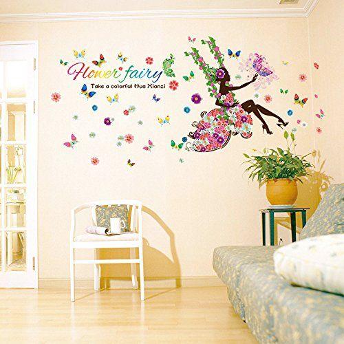 May Flower Home Decor Mural Vinyl Pretty Wall Sticker Kids Nursery Room Wall Art Decal Paper F Girls Wall Decals Kids Room Wall Decals Wall Stickers Home Decor