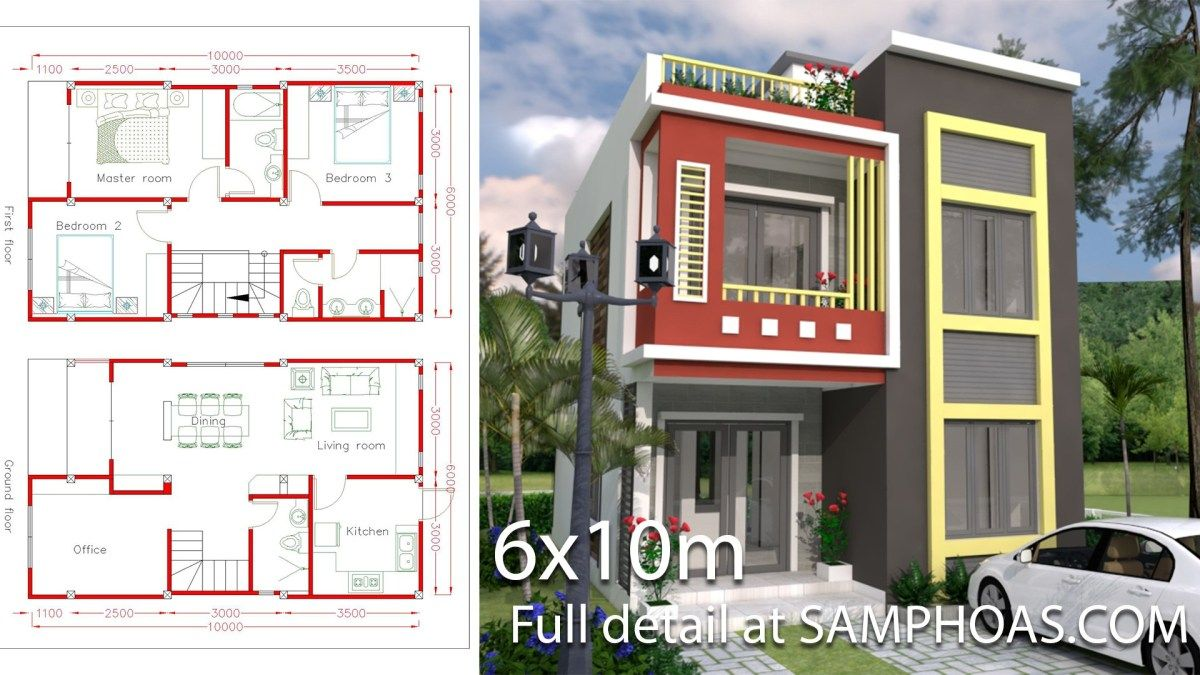 Home Design Plan 6x10m With 3 Bedrooms The House Has Small Garden Office Living Room Dining Room Kitchen Home Design Plan House Plans House Design