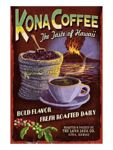 Kona Coffee Hawaii Art Print Lantern Press Art Com Kona Coffee Hawaii Kauai Coffee Kona Coffee
