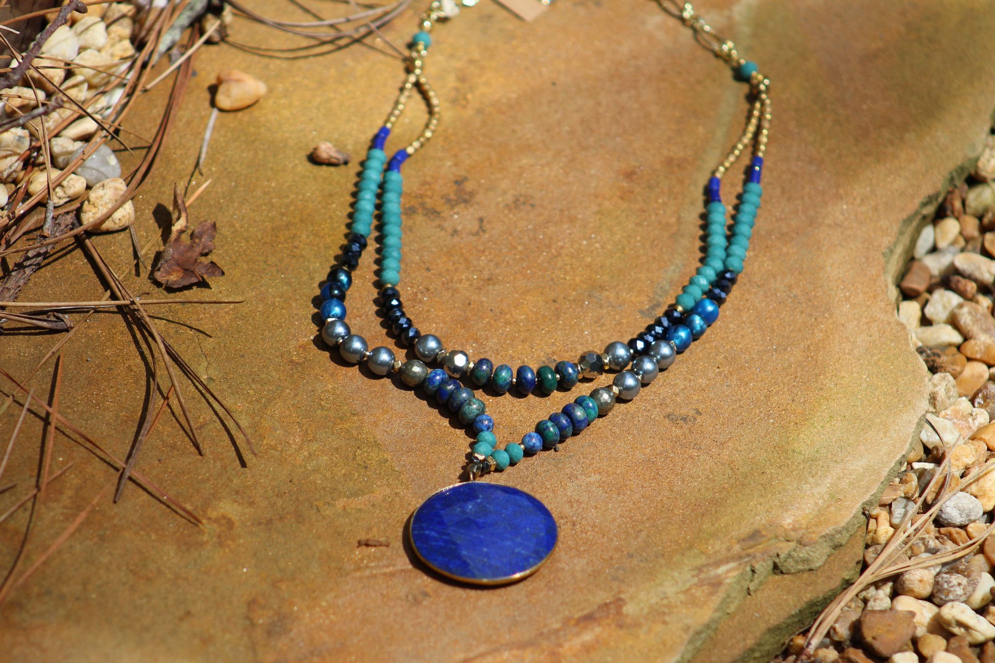 Lapis Beaded Pendant 2 Layer Pendants Turquoise Necklace