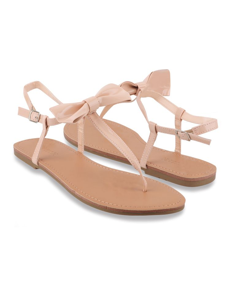 86421a7f6a67 Patent Bow Thong Sandals