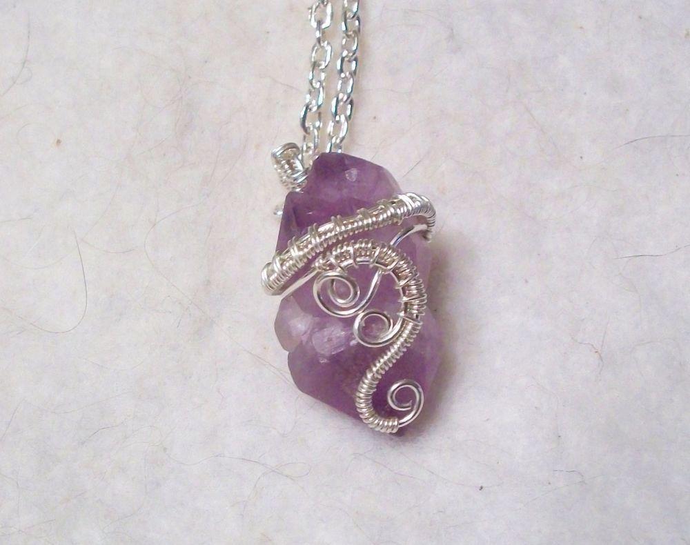 Mini Purple Amethyst Crystal Cluster .925 Sterling Silver Heady Wire ...