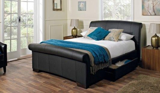 santino brown faux leather bed frame 150cm modern. Black Bedroom Furniture Sets. Home Design Ideas