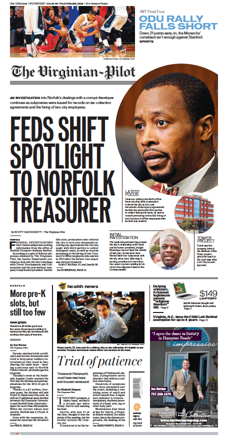 The Virginian-Pilot's front page for Wednesday, April 1, 2015.