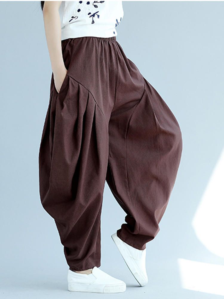 Photo of Pantaloni harem stile larghi irregolari della vita di colore puro delle donne di stile folk – Banggood …