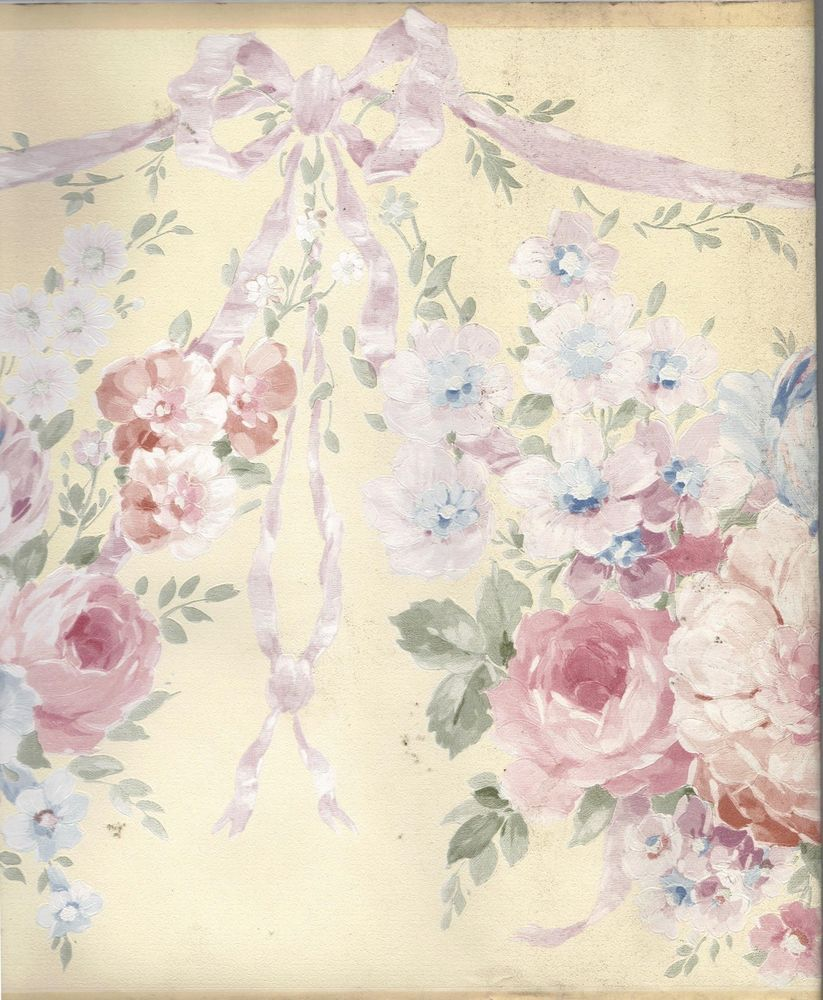 Flower roses pink blue silk ribbon bow swag wallpaper